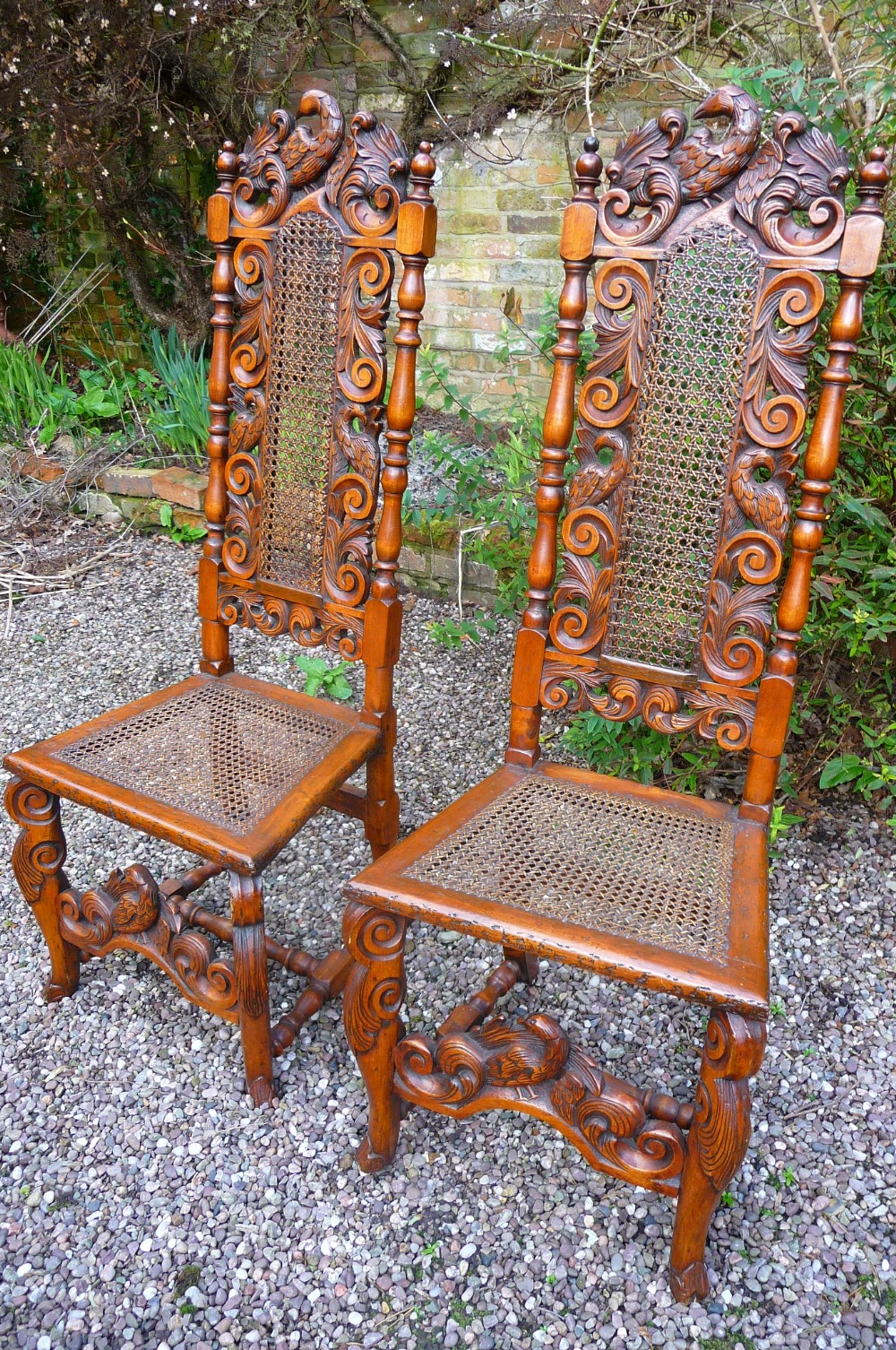 pr of l17thc walnut eagle tall side chairs c1680