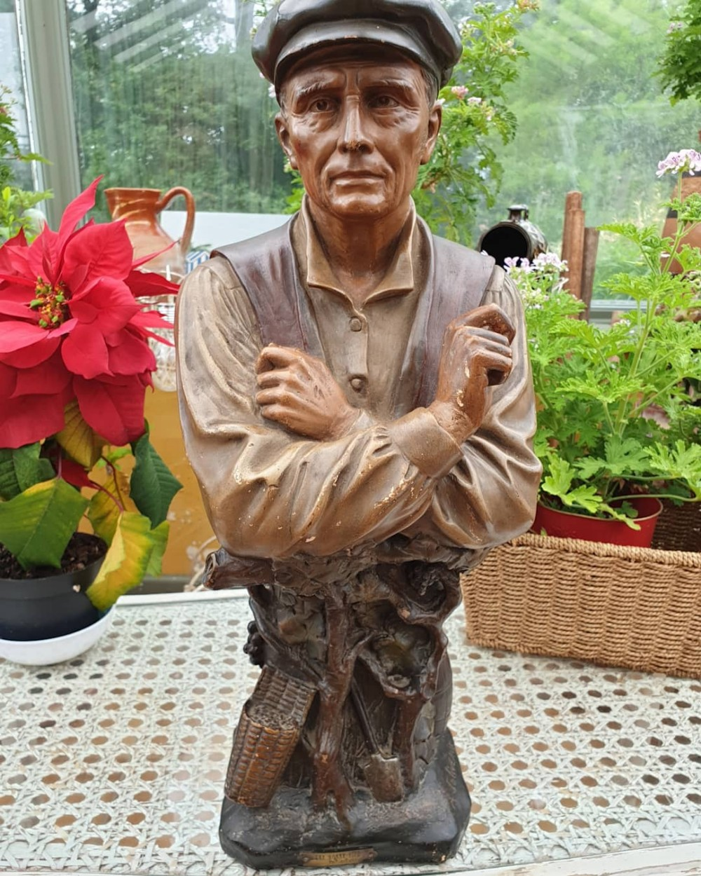 superb 19thc terracotta figure of the woodman by