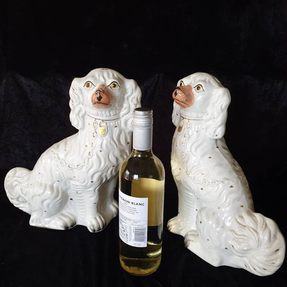large pr of antique 19thc staffordshire spaniels c1880