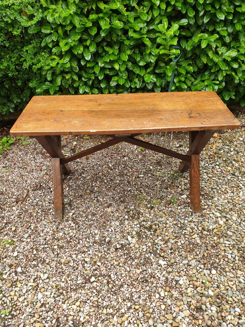 a good oak and fruitwood english x framed tavern table c1840