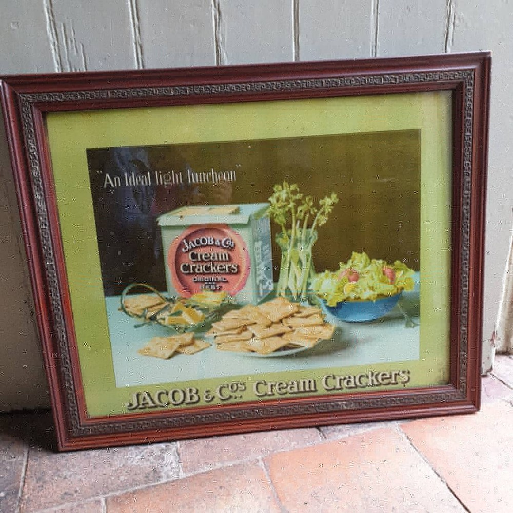 good original jacobs cracker advertising poster in the right frame