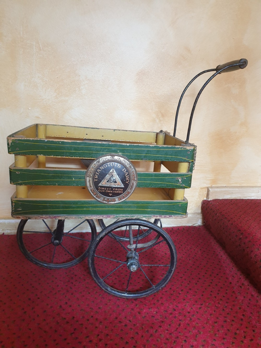 rare triang childs farmegg cart c1920 original