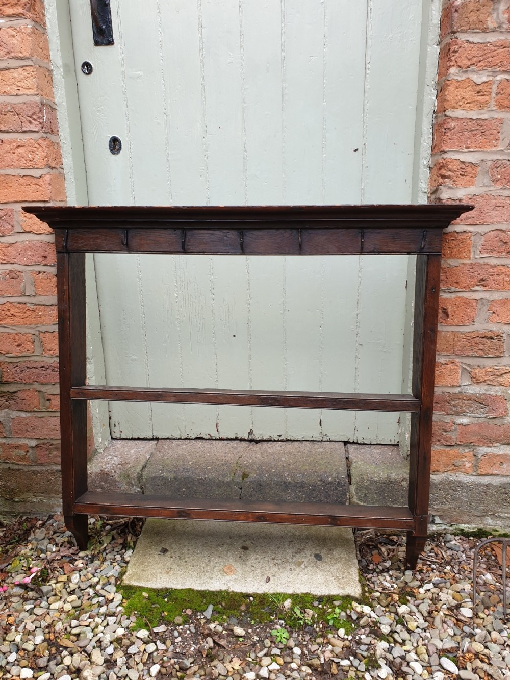 small welsh 19c delftplate rack with original cup hooks c1800