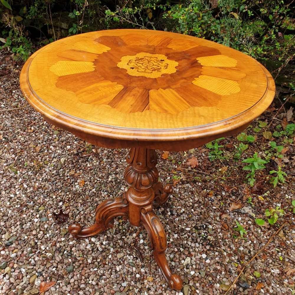 an extremely unusual antique walnut inlaid occasional table