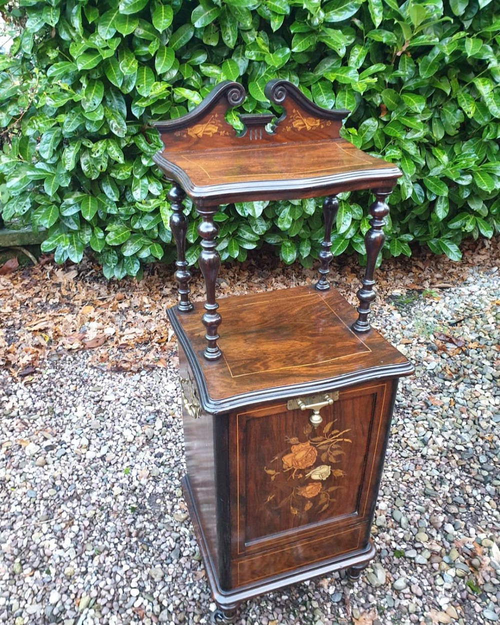 super small antique rosewood inlaid music cabinet