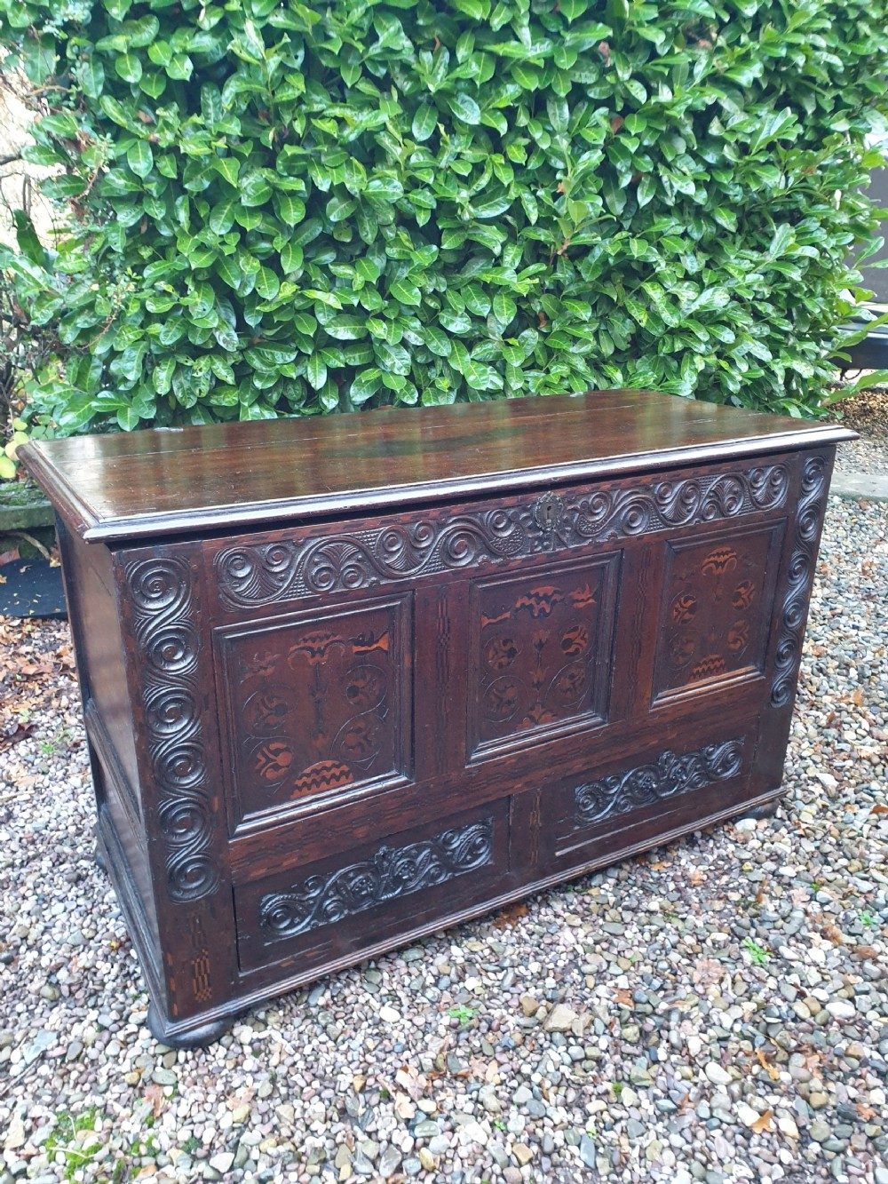 rare 17thc yorkshire oak marquetry inlaid blanket chest with drawers