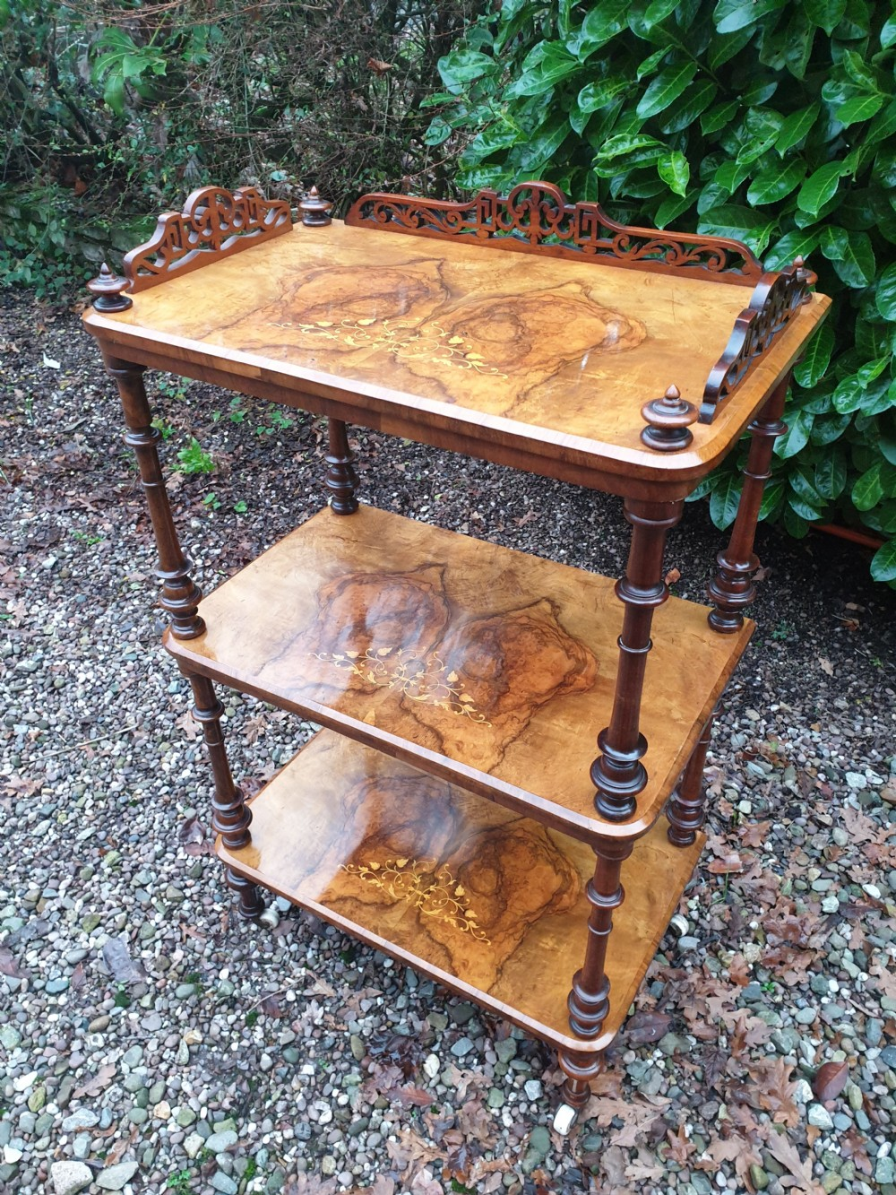 a good looking 19thc antique inlaid walnut 3 tier display standwhatnot