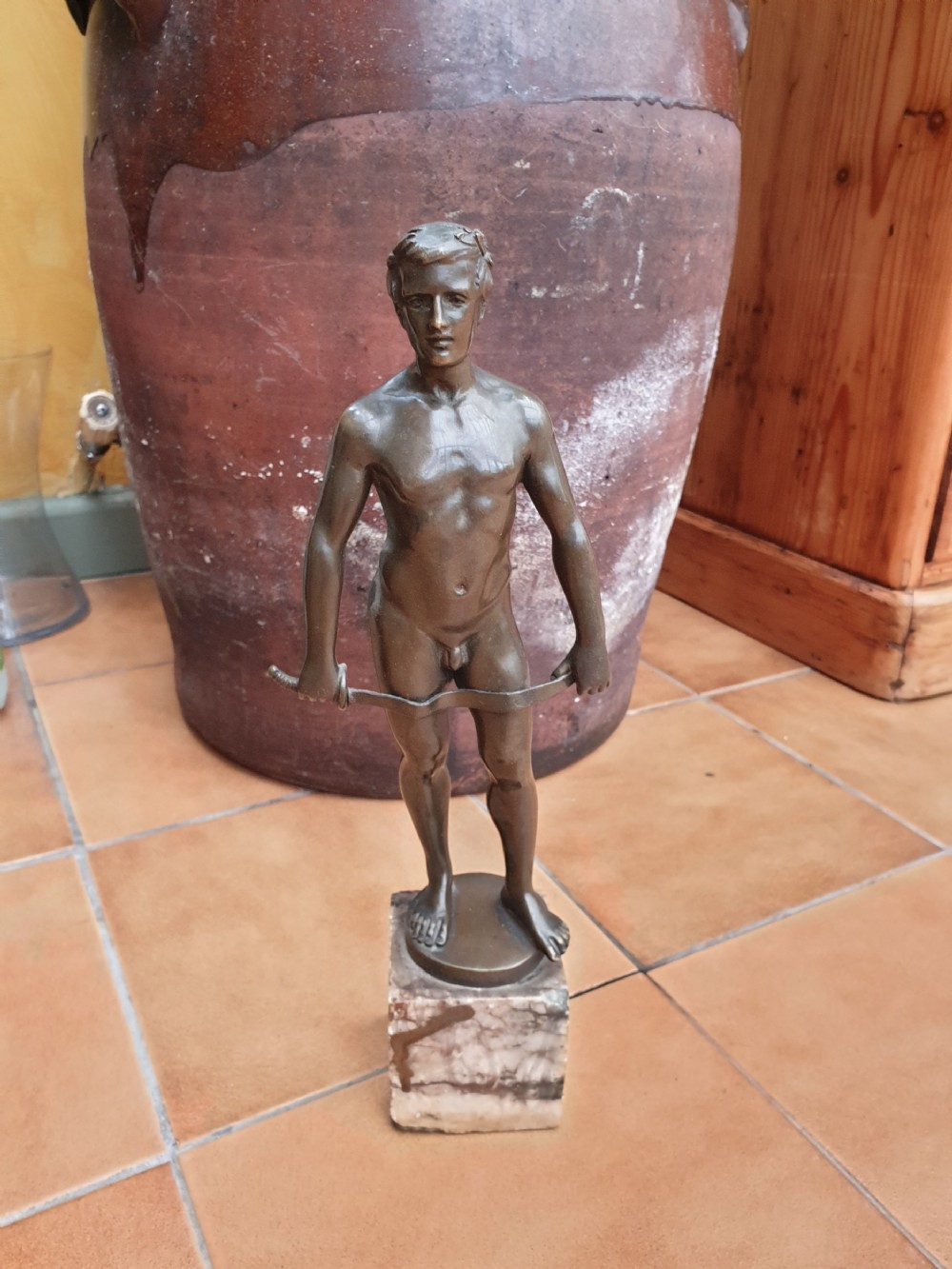 a early 20thc signed male nude bronze spiro schwatenberg 18981922