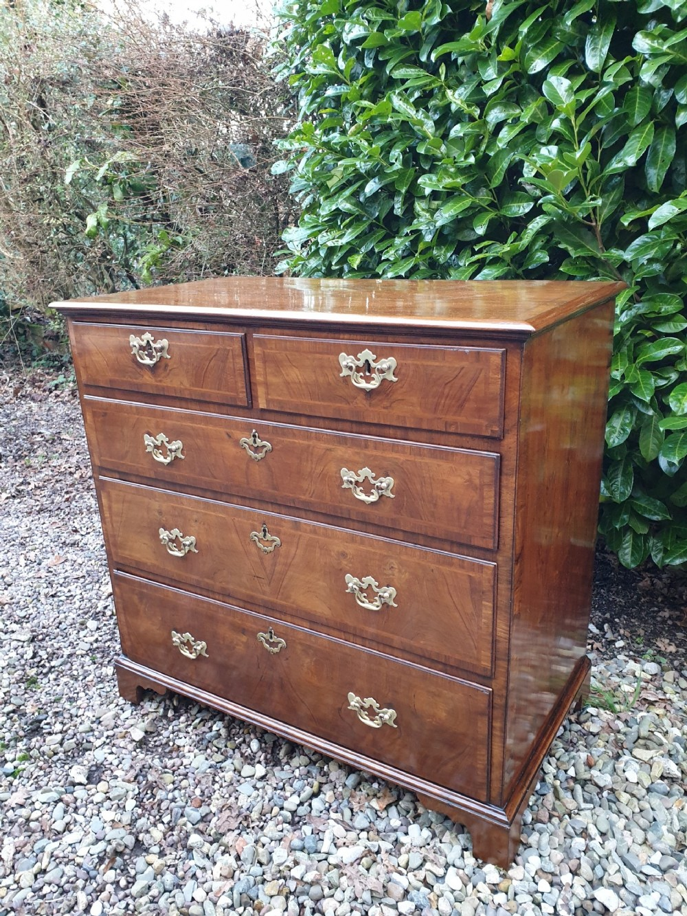 a super george 1st walnut chest of drawers with herringbone banding