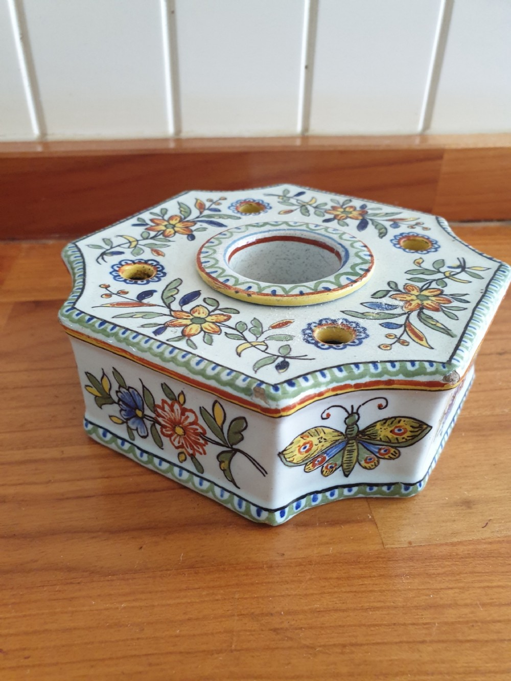 19thc tin glazed french inkwell fully marked great quimper colours