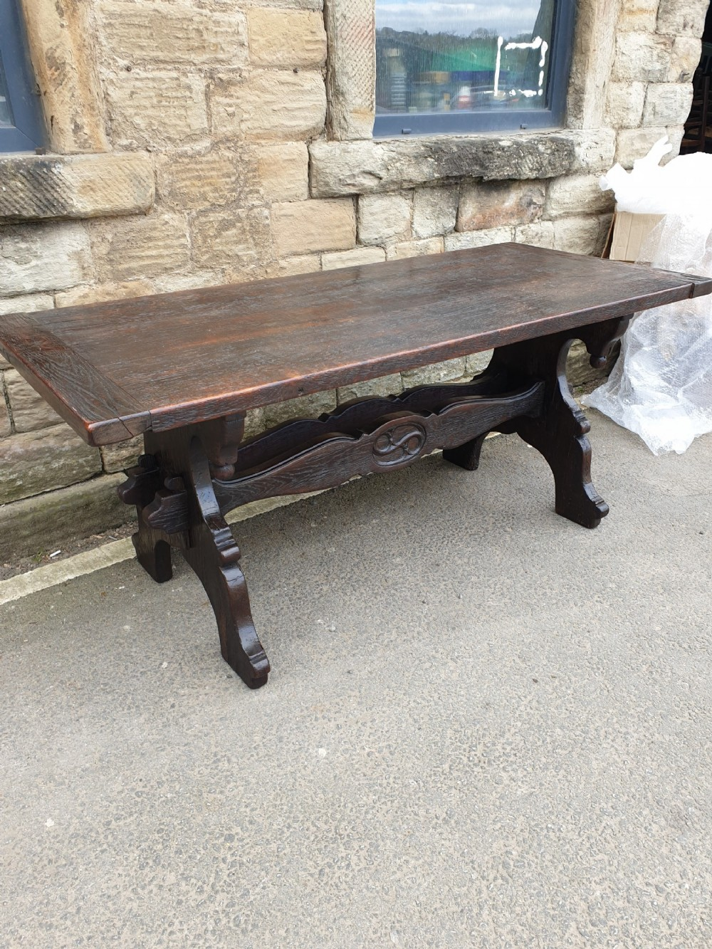 a superb 19th century italian thick top oak trestle dining table